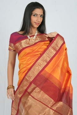 Silk Cotton Orange and Maroon