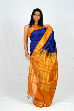 Silk Cotton Blue & Orange