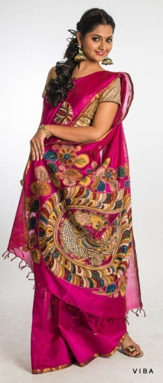 Pink - Big border silk cotton with cut work