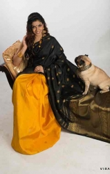 Pure silk black and yellow