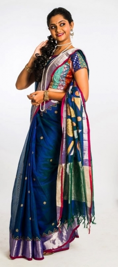 Black with Ganga Jamuna Colors - Ahimsa silk cut work