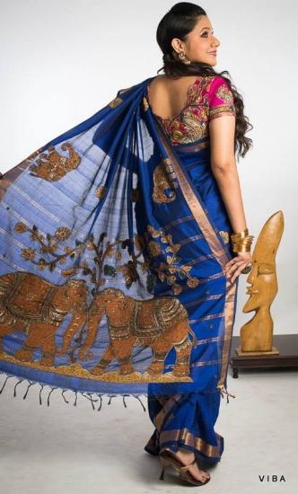 Blue kalamkari with kalamkari blocks