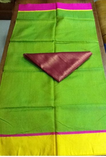 Green with Pink Kota Silk