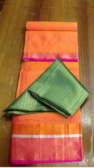 Orange with Green Kota Silk