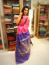 Pink with Mauve Painted Saree