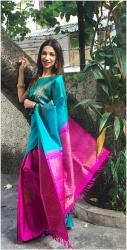 Aqua Blue with Pink Pallu