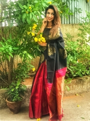 Black with red partly pallu