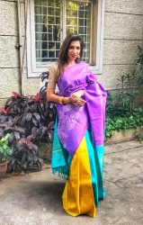 Mauve with yellow partly pallu