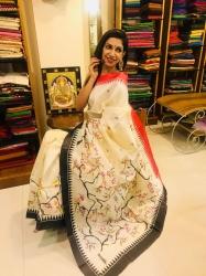 Linen painted saree