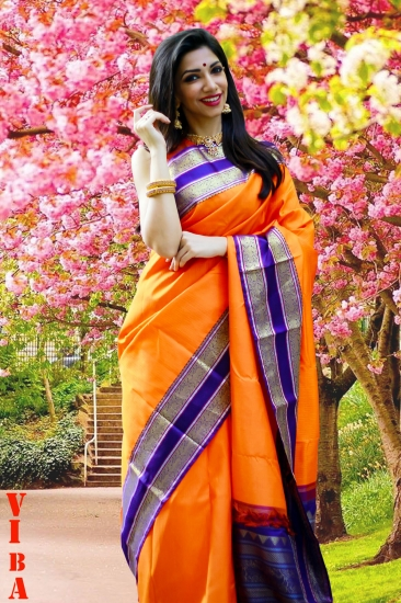Korvai Silk Saree With Gold &Silver Zari