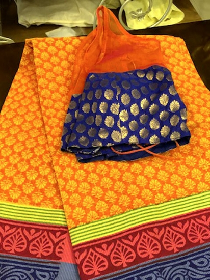 Rust & Blue Cotton Saree