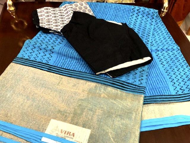 Blue Cotta Silk Saree