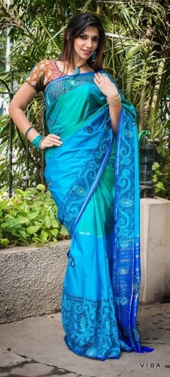 bule rich cut work  saree