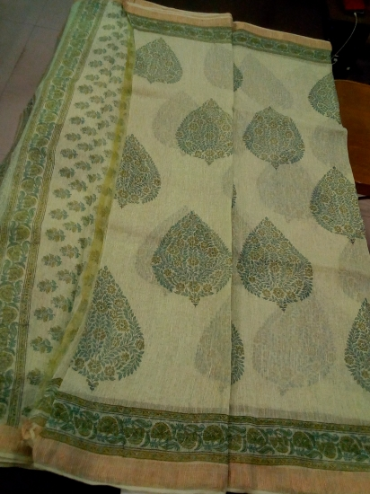 Maheshwari linen printed cotton saree
