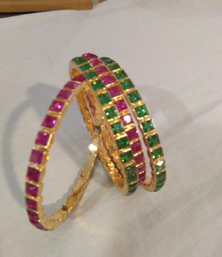 Ruby stone bangles
