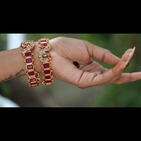 Catchy ,bangles in Ruby n zircon st