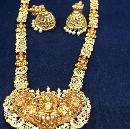 Gold Lakshmi Pendant  uncut stones Haram