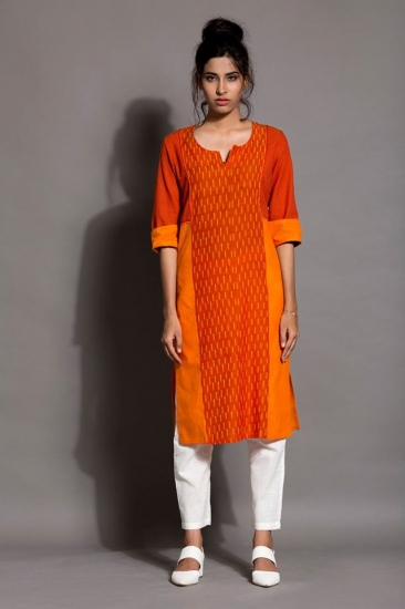 SR- LONG KURTA MIX ORANGE