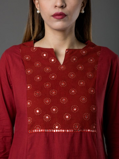SR-RB MIRZA KURTA RED