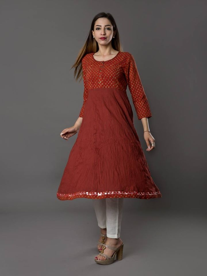 SR-RB Rajini Long Wrinkled Kurta Red