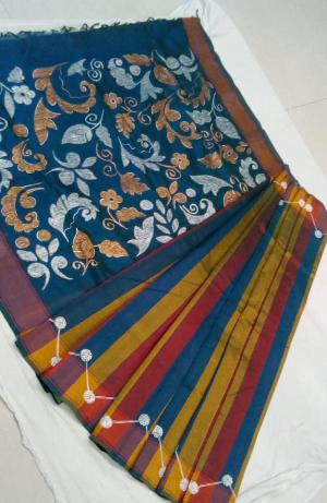Silk cotton painted  saree