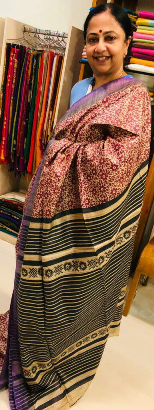 tussar & printed silk