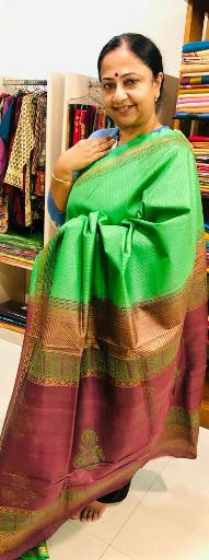 Erika tussar  printed silk