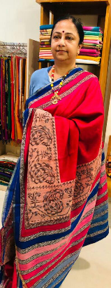 Tussar & printed saree