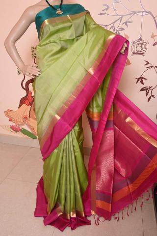 Soft silk saree green &pink border