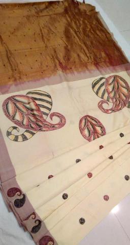 Japanese painting ahimsa silk saree