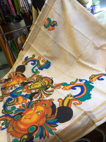 Mural painting with ahimsa silk