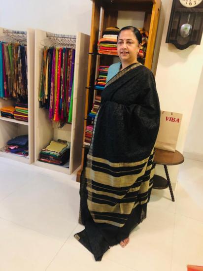 Tussar  black  printed saree