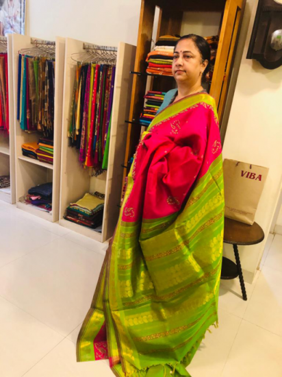 Silk cotton printerd silk saree
