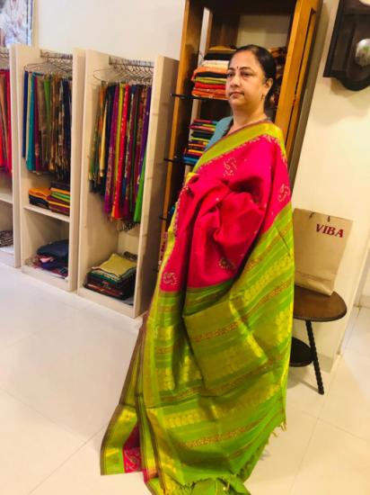 Silk cotton printerd silk saree