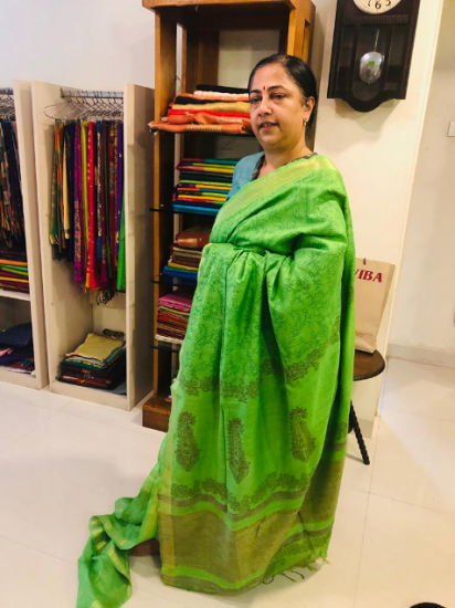 Tussar   green printed saree