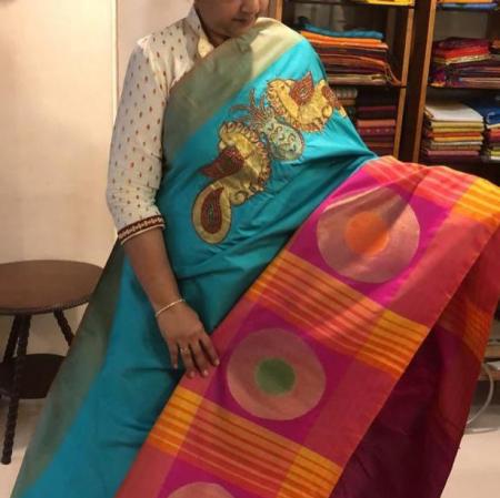 Ahimsa silk  kemp stone worki saree.