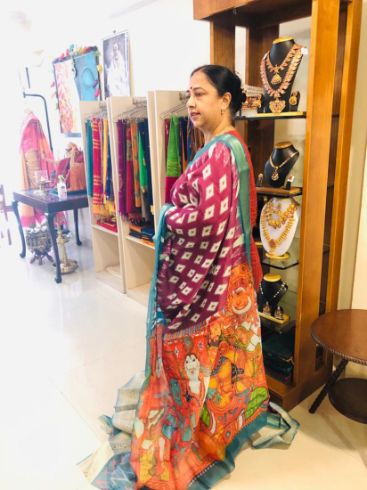 Linen with murals painting and printed silk saree