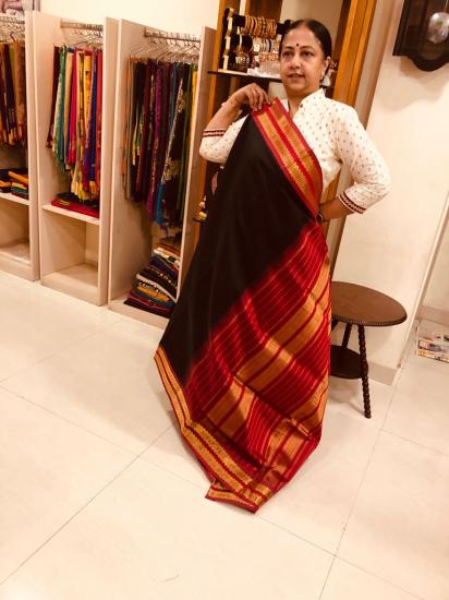 Ahimsa silk cotton  korvai border saree